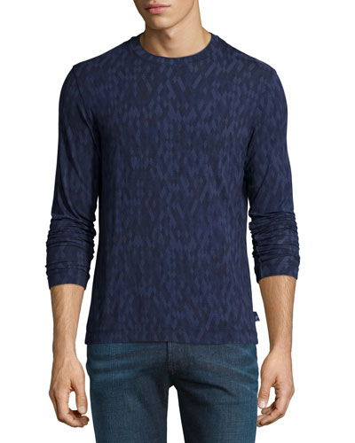 Jacquard Diamond-Print Long-Sleeve Shirt, Blue