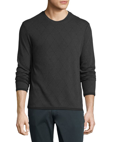 Diamond-Weave Long-Sleeve Crewneck Sweater, Gray