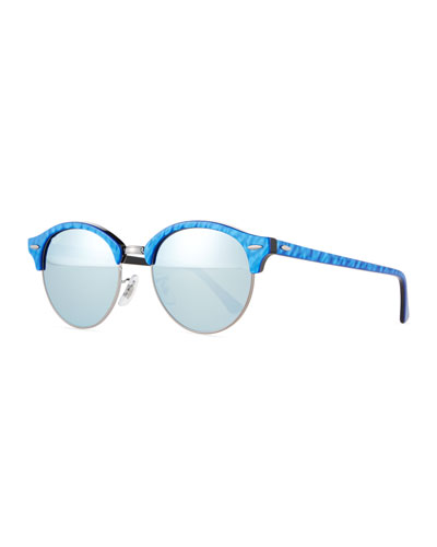 Round Acetate Sunglasses W/Mirror Lenses