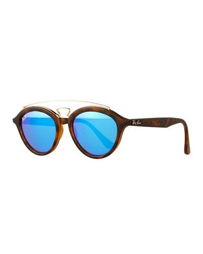 Round Double-Bridge Acetate Sunglasses W/Mirror Lenses