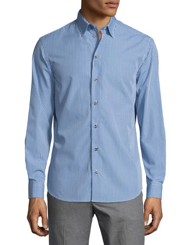 Gingham Long-Sleeve Sport Shirt, Blue