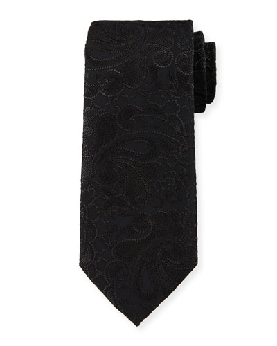 Jacquard Floral-Print Silk Tie, Black