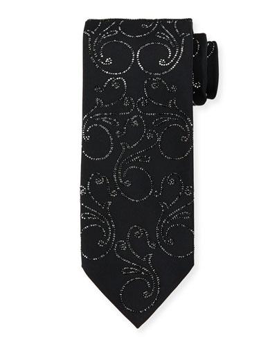 Crystal Floral-Print Silk Tie, Black