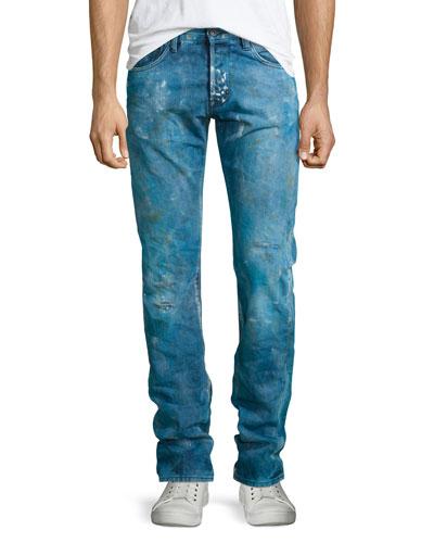 Demon Enzyme Stone Bleached Denim Jeans, Blue