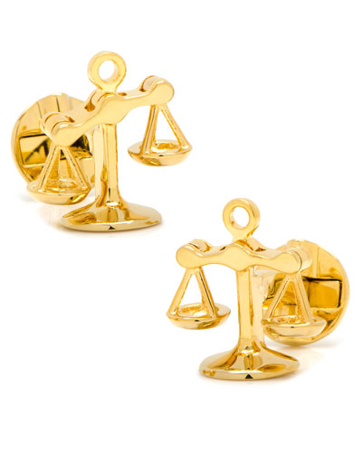Moving Parts Golden Scales of Justice Cuff Links