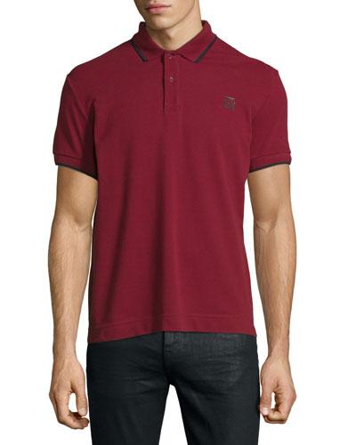 Contrast-Tip Logo Pique Polo Shirt, Burgundy