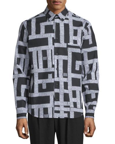 Shields Pipe-Print Shirt, Darkest Black Thread