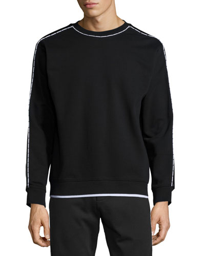 Contrast-Trim Long-Sleeve Sweater, Darkest Black