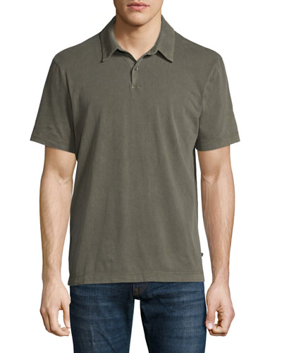 Sueded Jersey Polo Shirt, Taupe