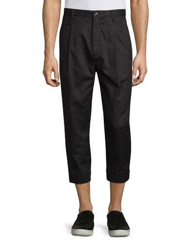 Single-Pleat Cuffed Trousers, Black