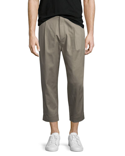 Single-Pleat Cuffed Trousers, Taupe
