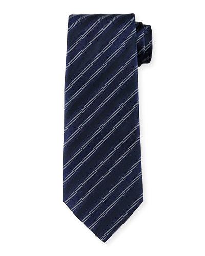 Multi-Striped Silk Tie, Light Blue
