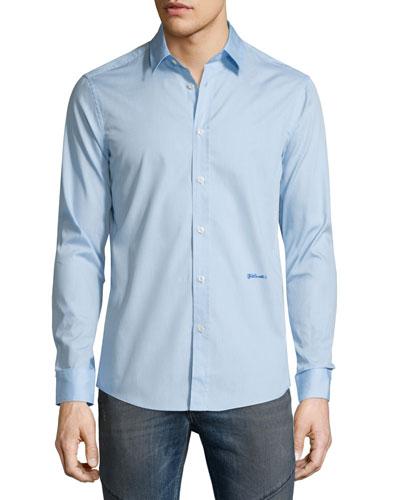 Solid Long-Sleeve Woven Dress Shirt, Light Blue