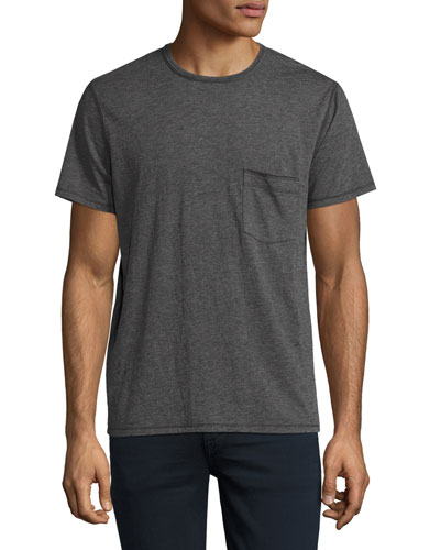 Raw-Pocket Crewneck T-Shirt, Heather Charcoal