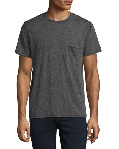 Raw-Pocket Crewneck T-Shirt, Heather Charcoal