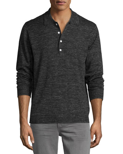 Long-Sleeve Polo Sweater, Dark Charcoal