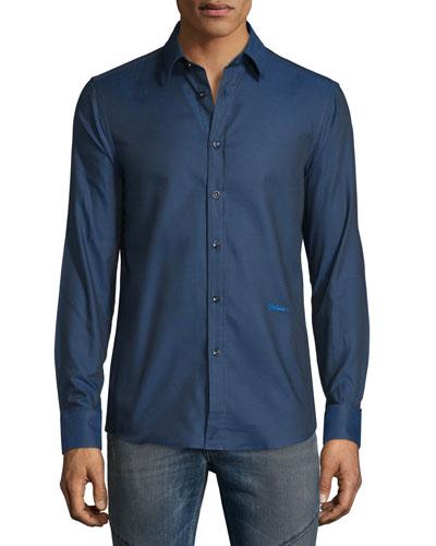 Solid Long-Sleeve Woven Dress Shirt, Medium Blue