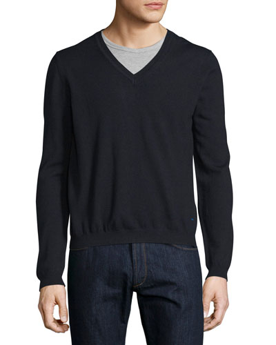 Long-Sleeve V-Neck Wool Sweater, Blue/Navy