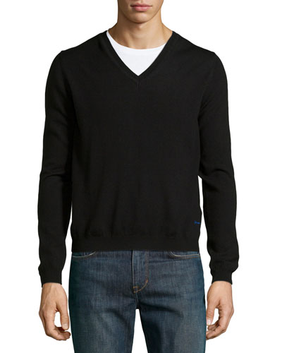 Long-Sleeve V-Neck Wool Sweater, Black