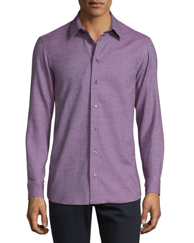 Neat Mini-Check Woven Sport Shirt, Berry/Blue