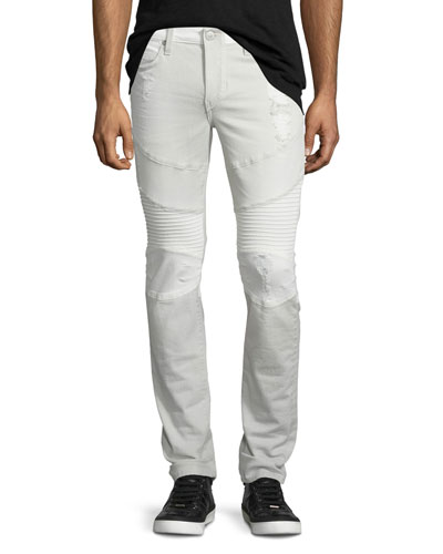 Rocco Two-Tone Moto Jeans, Gray