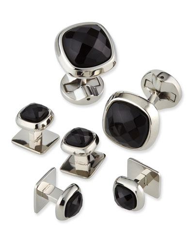 Faceted Onyx Cushion Stud Set