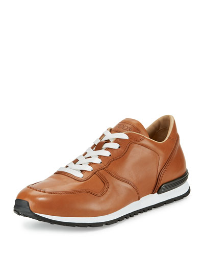 Burnished Leather Trainer Sneaker, Tan