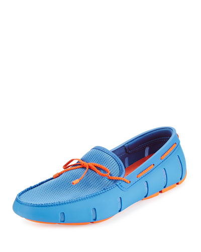 Braided Bow Water-Resistant Loafer, Light Blue