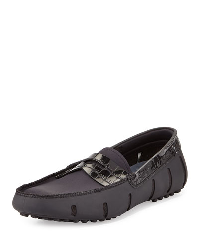 Rubber Penny Loafer with Faux-Croc Trim, Black