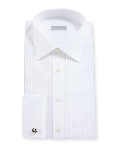 Metallic Pleated Silk French-Cuff Tuxedo Shirt, White