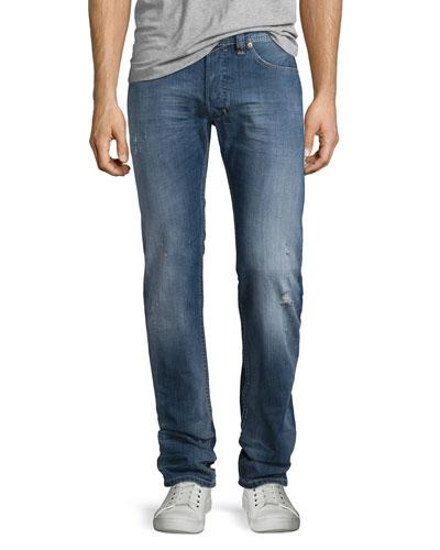 Safado Medium-Wash Straight-Leg Denim Jeans, Blue