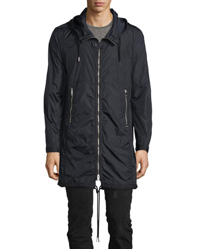 Hooded Long Nylon Wind-Resistant Jacket