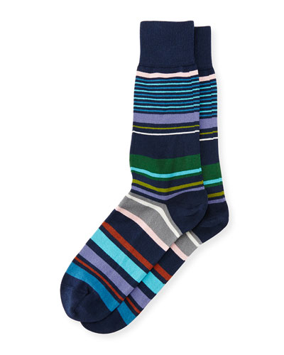 Marmie Multicolored-Striped Socks, Navy