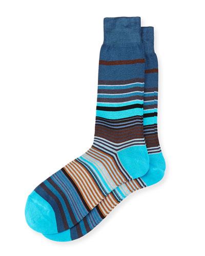 Fuel Multicolored Striped Socks, Navy