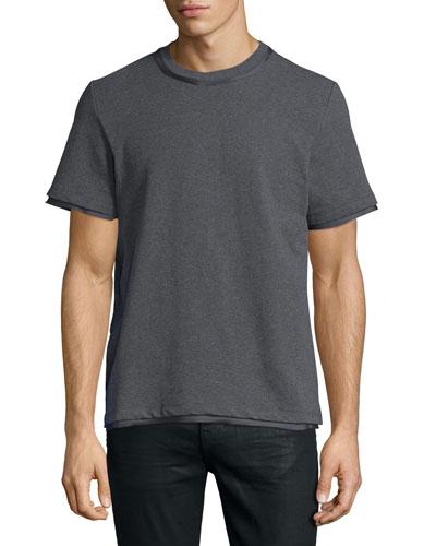 Satin-Trim Jersey T-Shirt, Gray