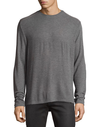 Patch-Trim Crewneck Sweater, Gray