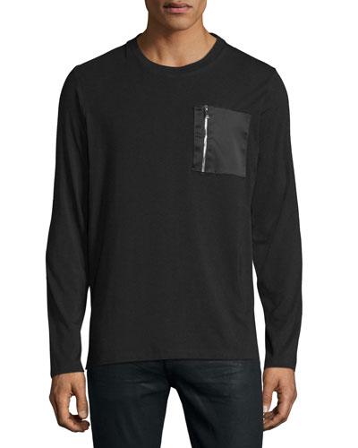 Satin Zip-Pocket Long-Sleeve T-Shirt, Black