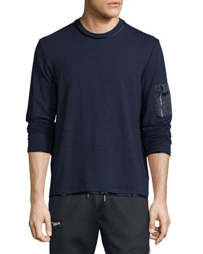 Satin-Trim Zip-Pocket Sweater, Navy