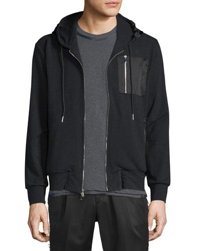 Satin-Trim Technical Knit Hoodie, Black
