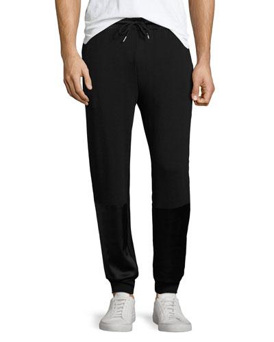 Satin-Patch Track Pants, Black