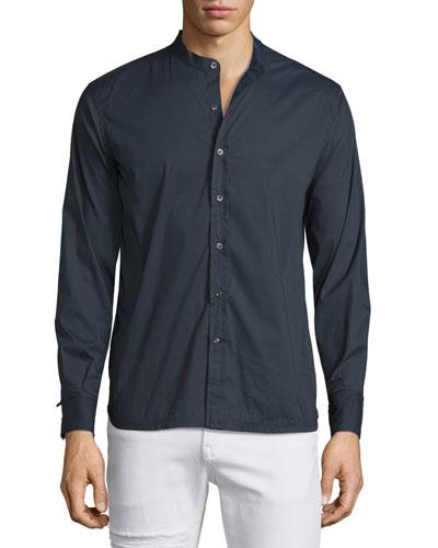 Woven Band-Collar Shirt, Navy