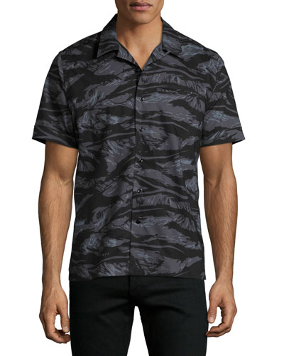 Tiger Camo Short-Sleeve Beach Shirt, Black Pattern