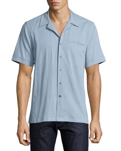 Short-Sleeve Chambray Shirt, Light Blue