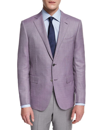 Micro-Check Two-Button Jacket, Pink