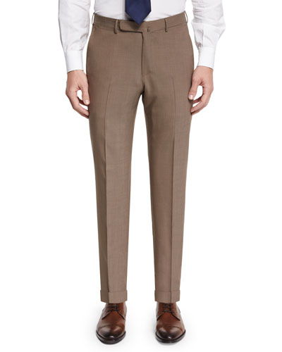 High-Performance Wool Twill Trousers, Khaki