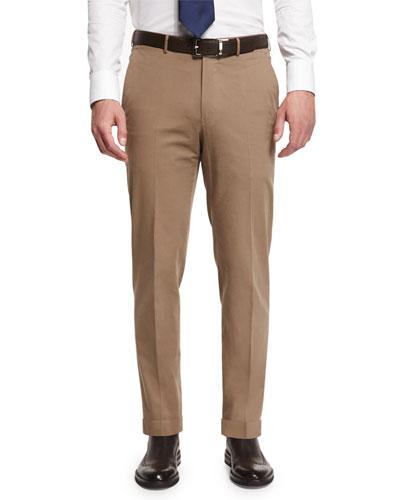 Cotton-Blend Flat-Front Trousers, Khaki