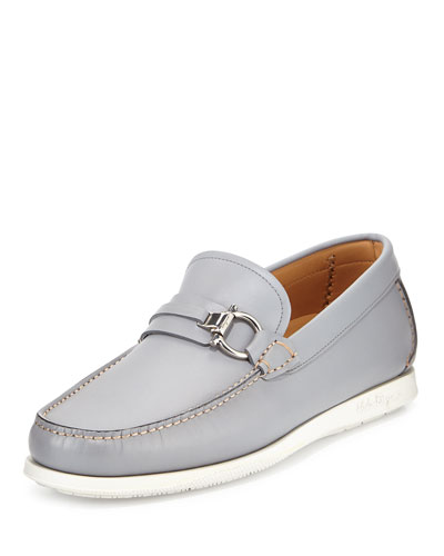 Lorien Leather Loafer on Rubber Sole, Gray