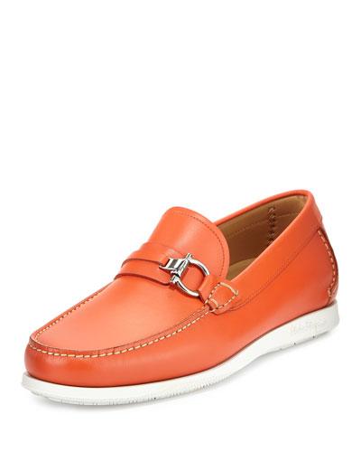 Leather Side-Bit Boat Loafer, Orange