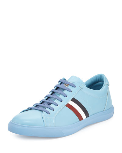 Monaco Men's Striped Leather Low-Top Sneaker, Light Blue