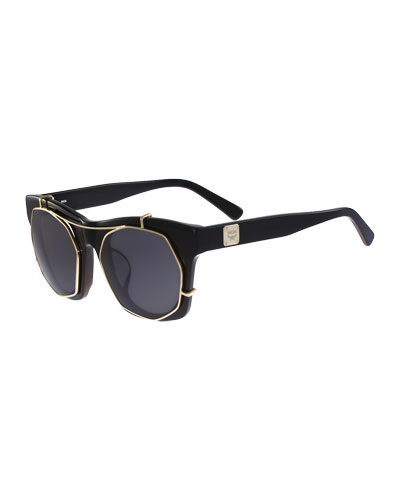 Metal Clip-Front Plastic Sunglasses, Black